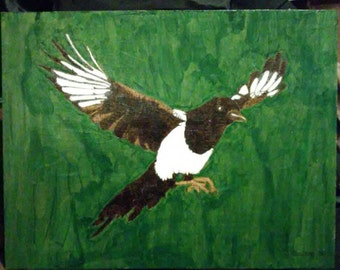 Magpie pyrography wood burning