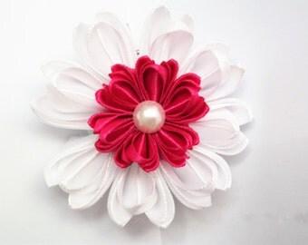 white flower clip for hair, hair clip for baby girl, handmade flower for hair, beautiful white flowers for hair, school bow for girls