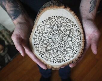 "Mandala wood-burned wall hanging, ""Epiphany"""