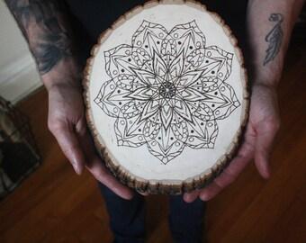 "Mandala wood-burned wall hanging, ""Divine"""