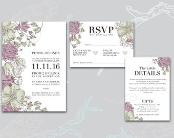 Pretty vintage floral wedding stationary set
