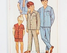 60s Boys Pajamas Pattern   Simplicity 7399 Boy's Pajamas in Two Lengths Pattern   1960s Sewing Pattern