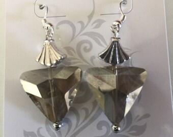 silver shell & triangle earrings