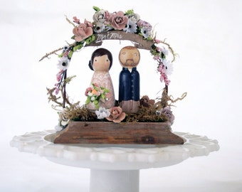 Custom wooden Peg doll Wedding Cake Topper