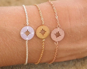 Compass Bracelet | Dainty Circle Bracelet | Stainless Steel Silver Rose Gold Plated | Circle pendant | Minimal Compass Bracelets