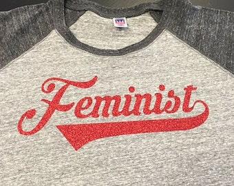 Feminist Baseball Raglan T-Shirt Red Sparkle