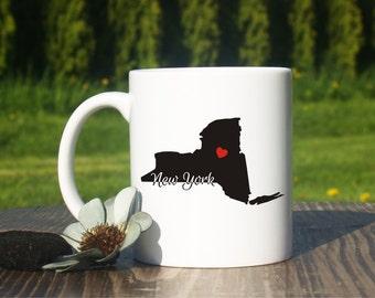 New York mug-New York coffee mug-Hometown-New York state mug-Home state mug-New home gift-State mug-Adoption-University of New York-New York