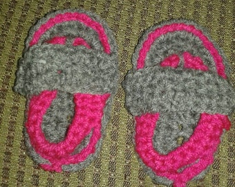 Baby girl sandals grey and pink 0-3 months soft flexible sole cute handmade