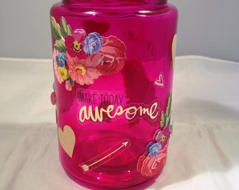 Heart & Flowers Inspirational Jar