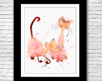 Siamese Cats Lady and the Tramp abstract - Buy 2 Get 1 FREE