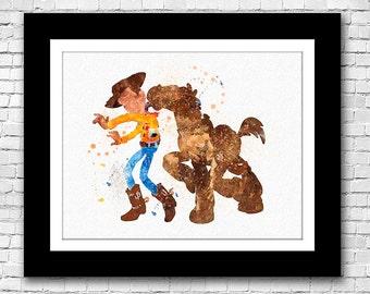 Disney Pixar Toy Story Woody and Bullseye watercolour - Bu7y 2 Get 1 FREE