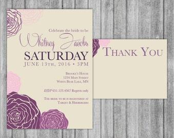 Bridal Shower Set - Purple and Pink Flower