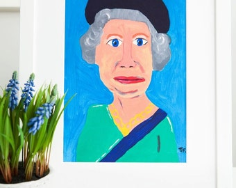 The Queen Giclee Print, The Royal Family, Elizabeth II UK