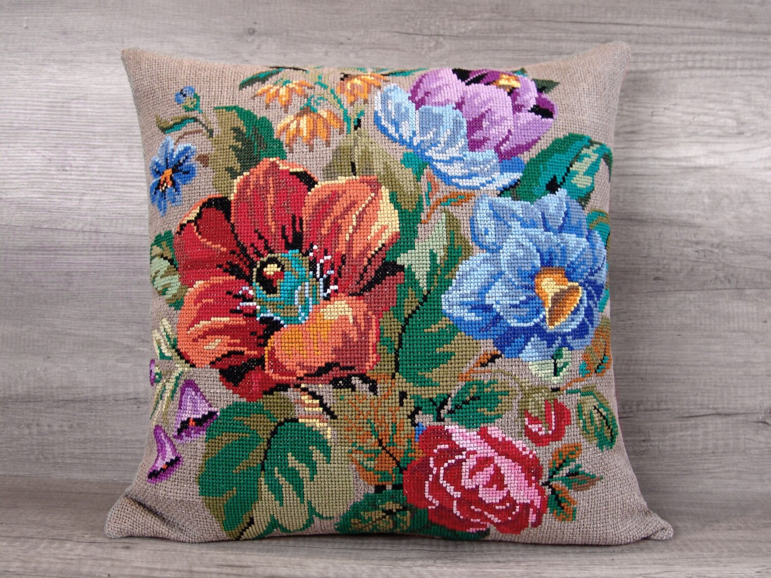 Large Flower Throw Pillow : Large flower cross stitch decorative pillow cover embroidered