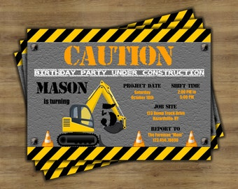 Construction Birthday Invitation; Construction Party Invitations; Dump Truck Invitation; Construction Invites; Construction Theme Birthday