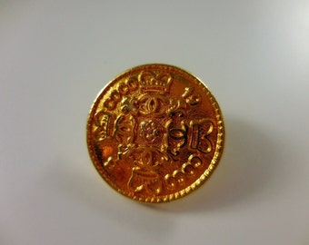 1x Authentic D14mm Chanel vintage gold tone metal button, small size