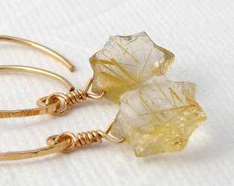 Golden rutilated quartz earrings star Halbcreolen, vintag, gemstone earrings