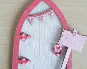 white and pink shimmer fairy door
