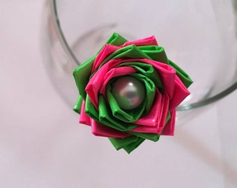 Hot Pink and Green Duct Tape Rose Pen