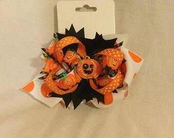 Halloween hair bow, pumpkin hair bow