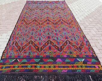 Vintage Anatolian Turkish Kilim Rug,Green,Red,Floor Rug,Antique Kelim 133 x 67 inches,337 x 170 cm Flying Birds Rug,Kelim,Carpet,Large