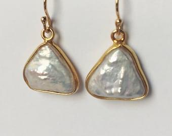 Freshwater pearl drop earrings - pearl triangle earrings - Small