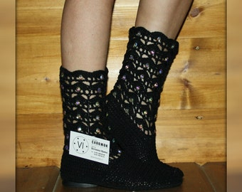 Boots are summer knitted/Women's boots/ Summer footwear/ Handmade to Order/ Footwear of handwork/ Boots are female/ Hand knitted/ Tribal