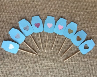 Mason jar with heart cutout cupcake topper pick, blue, any color heart 6ct