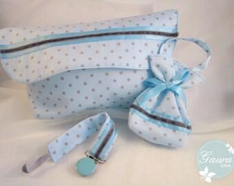 Kit_gaura_Kitds: Chupetero-dummy-diaper bag / Diaper bag-Pacifier pod-Pacifier holder / Sac à couches Attache sucette Sac sucette