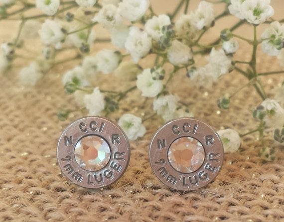 Crystal Clear 9mm CCI Bullet Stud Earrings