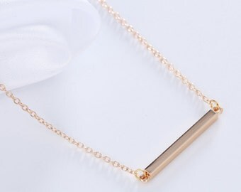 bar necklace gold, bar necklace silver, simple bar necklace, layering necklace minimal, cute, tiny, minimal, dainty, plain, square