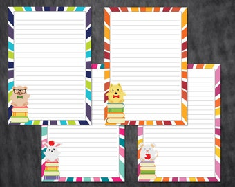 Printable Writing Paper : Cutie Book Lovers