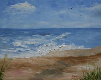Beach #1 Original Oil Painting on Canvas 9 x 12