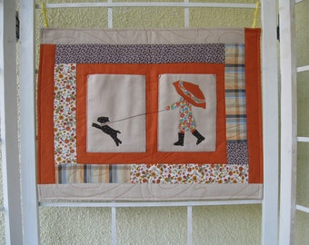 Patchwork wall hangings with pockets