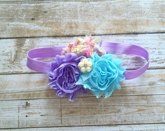 Purple Shabby Flower Headband/Baby Headband/Infant Headband/Baby Girl Headband/Toddler Headband/Newborn Headband/Floral Headband