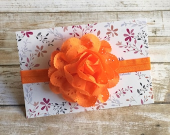 Orange Headband, Orange Baby Headband, Halloween Headband, Girl Headband, Halloween Hair Bow, Baby Headband, Newborn Headband, Baby Hair Bow