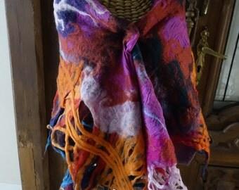 wool felted scarf, handmade, art to wear, romantic, felt, wet felt scarf, nuno felt scarf