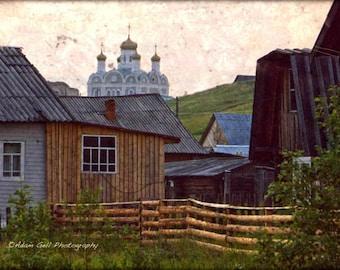 Russian Photography,Koigorodok ,Russia Photography,Old Rustic Orthodox Church, Komi Republic,Rustic village scene,wood cabins,Wall Art Decor