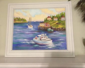 """A New England Bay 16x20"""" Original oil painting"""