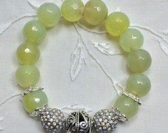 Faceted Lime Green Glass Bead Bracelet
