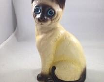 Vintage Ceramic Startled Blue Eyed Siamese Cat Figurine