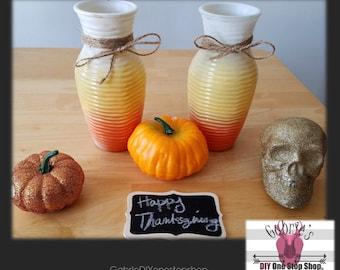 Candy Corn looking decorative glass - 2PC -Halloween , Fall