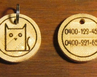 Cat Bamboo Tag - Cat Tag - Pet Tag