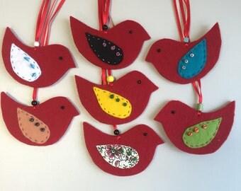 Felt Bird ornament, Handmade Bird Decoration from felt, Embroidered bird ornament, Spring decoration, Christmas decoration