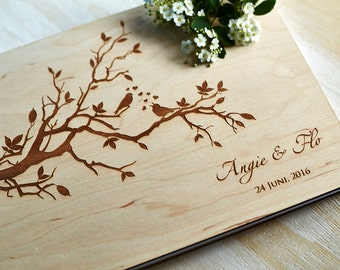 Love Birds Wedding Guest Book Engraved, Rustic Wedding Guest Book, Initial Personalized Bridal Shower Guest Book