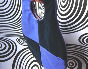 Mod Bag, Geometric Block Colour Bag, Sixties Style Wrist Bag, Two Tone Handbag, Geometric Purse, Lilac Teal Velvet Bag, Limited Edition