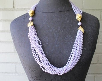 20% Off Entire Shop - Vintage Thick Multi-strand Lavender Statement Necklace with Gold Accents