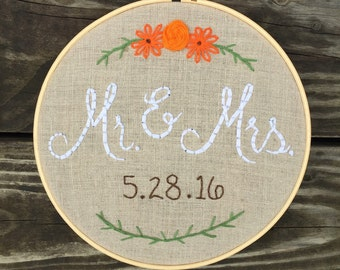 Handmade Mr and Mrs embroidered hoop, customized wedding gift, hoop art