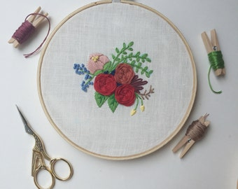 Handmade floral embroidery, hand embroiderd, Bloom collection