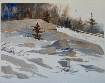 Winter landscape watercolor, original watercolor, forest, pine trees, snow, boulders, snow, #55